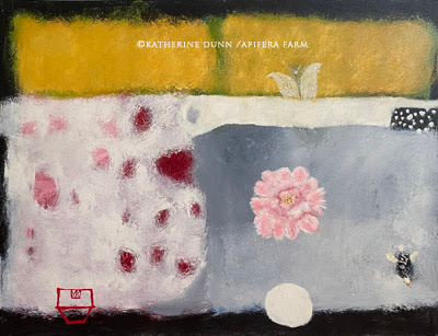 Moth and fog with peonies {Sold}
