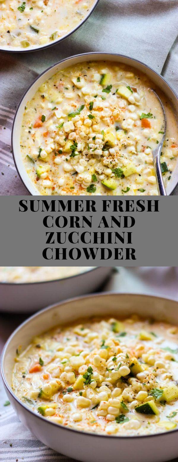 SUMMER FRESH CORN AND ZUCCHINI CHOWDER #main #American #glutenfree #one-pot