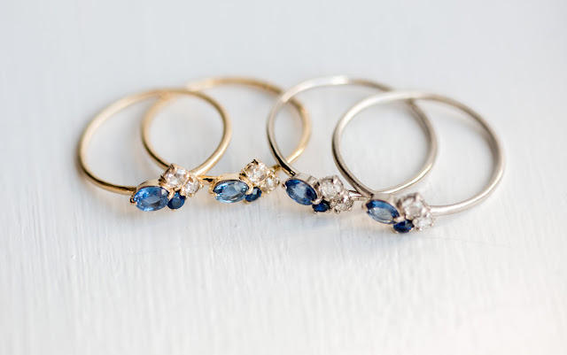 Side by side comparison of the Blueberry cluster rings with bright polish and matte finish shown in yellow and white gold metal colors.