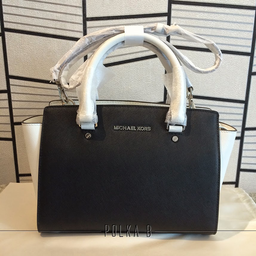 8c440d3c09c04 Michael Kors Selma Medium Color-block Top Zip Satchel - Black/White ...