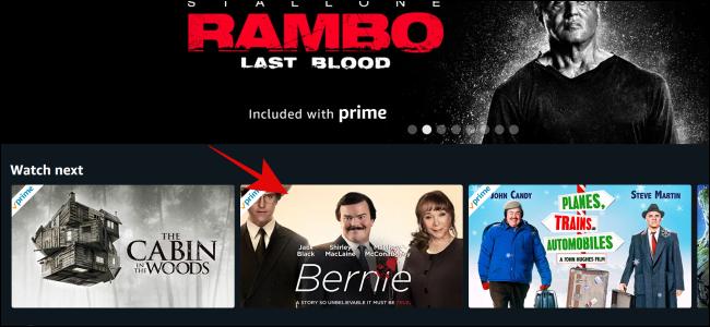 حدد العرض أو الفيلم الذي تريد مشاهدته على Amazon Prime Video.