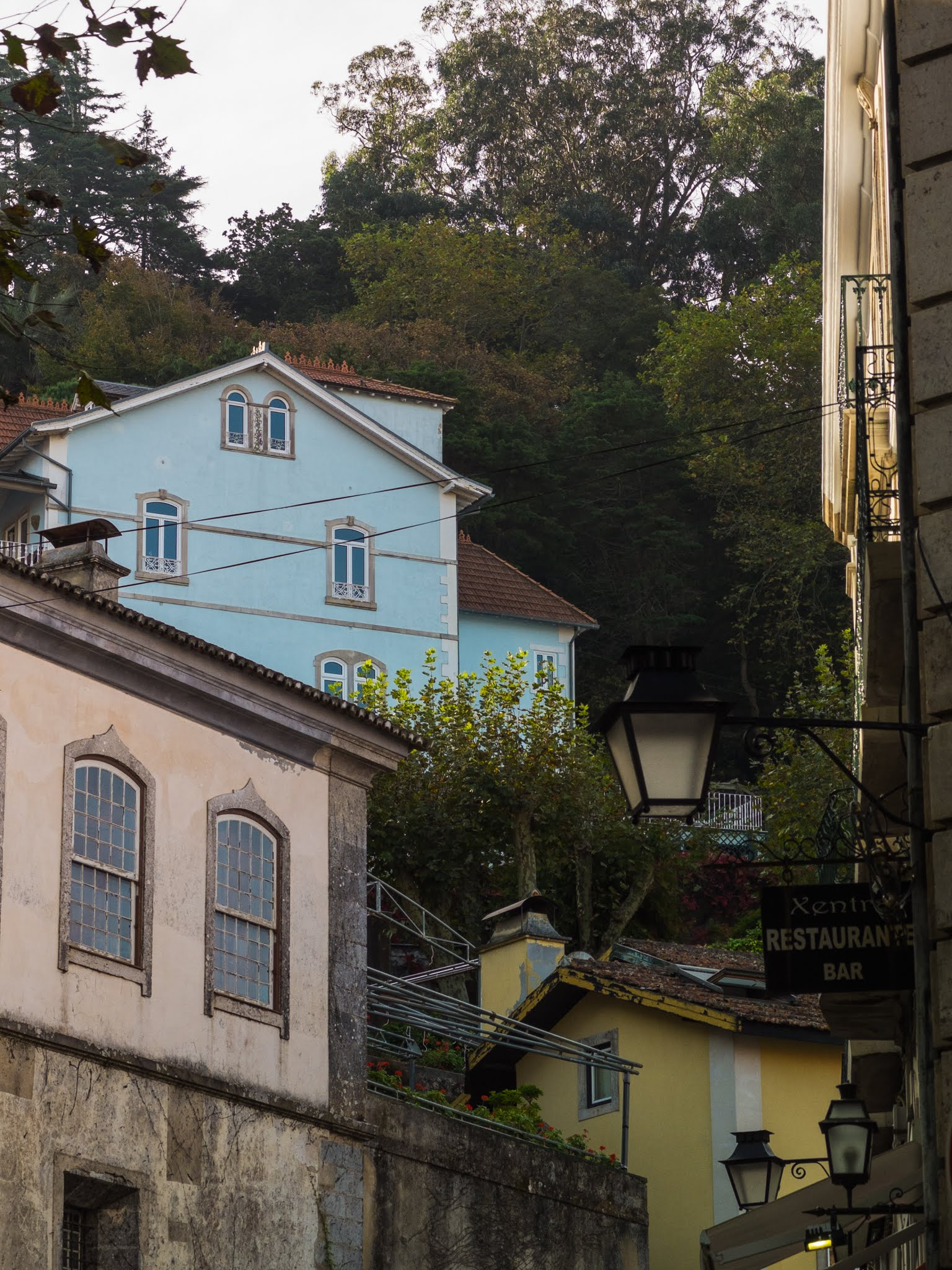View of colourful buildings on the hillside in Sintra, Portugal.