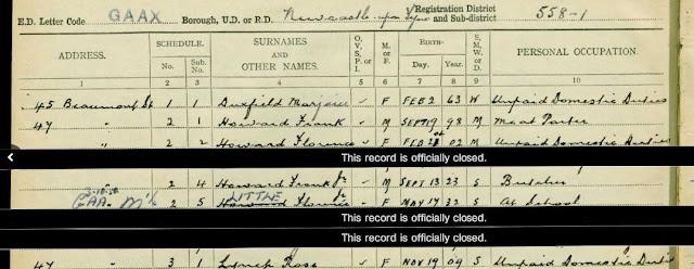 1939 National Registration - Newcastle-upon-Tyne, Northumberland - Florence Howard