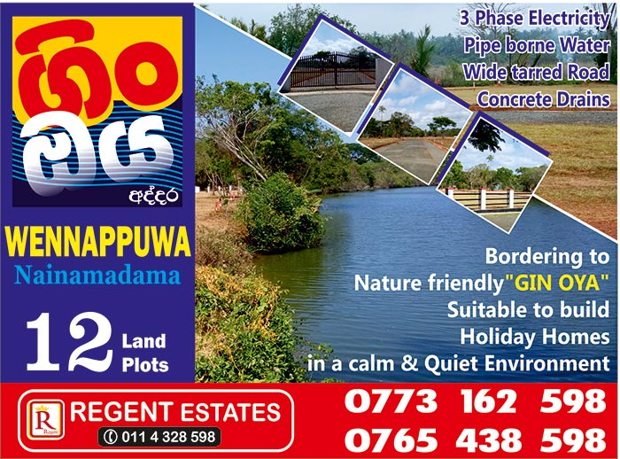 Regent Estates Pvt Ltd | Gin Oya Addara | Land plots facing Gin Oya @ Nainamadama.