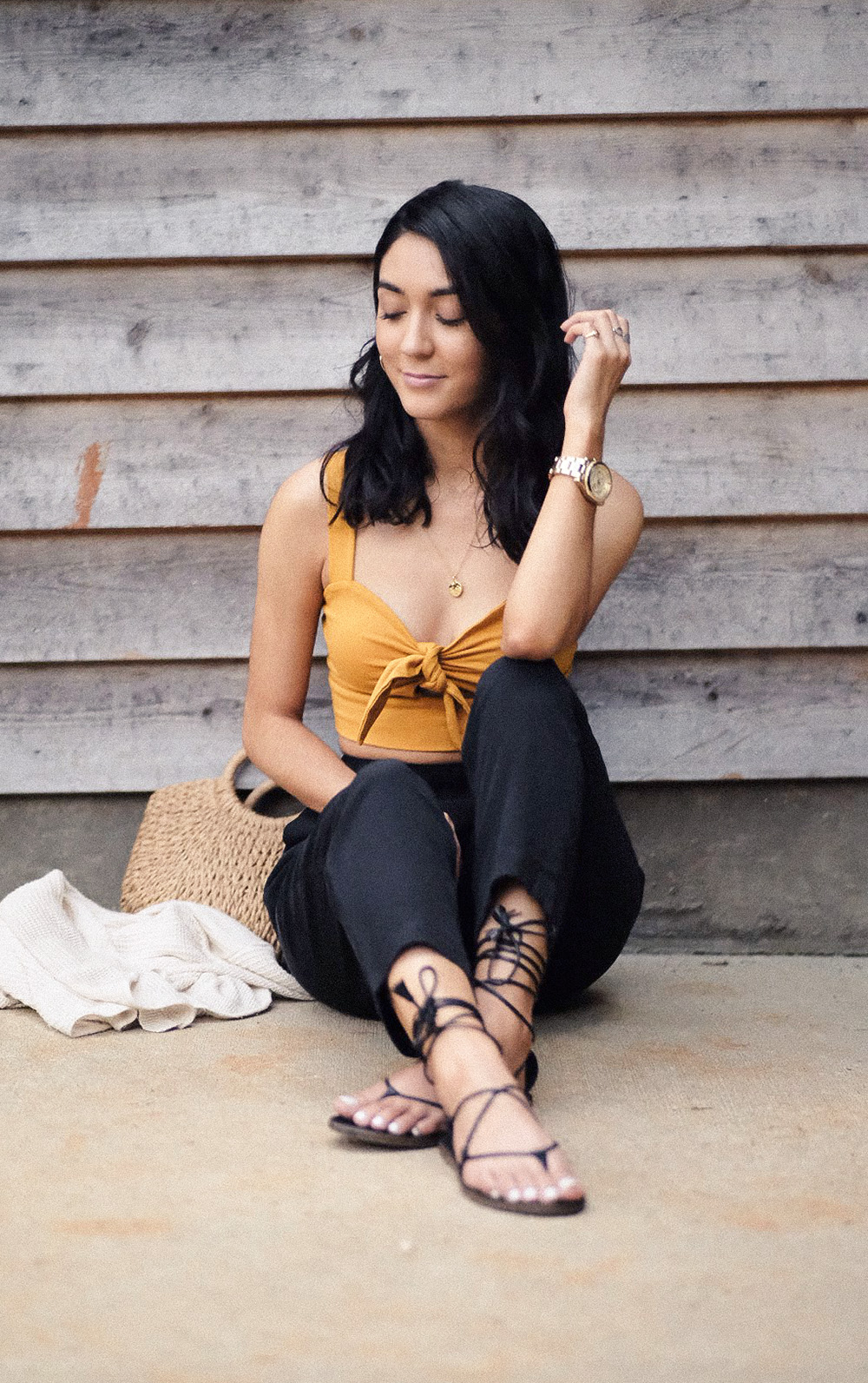 easy summer outfits to try now | grana silk ankle pants, madewell boardwalk sandals, lulus straw bag