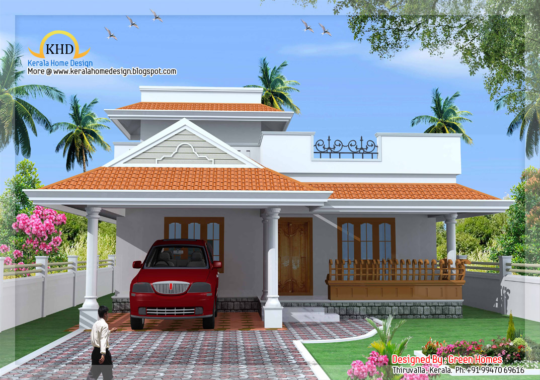 Kerala style single floor house plan 1500 sq ft for Low budget home plans