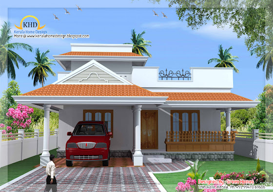 Kerala style single floor house plan - 139 square meters (1500 Sq. Ft.) - December 2011