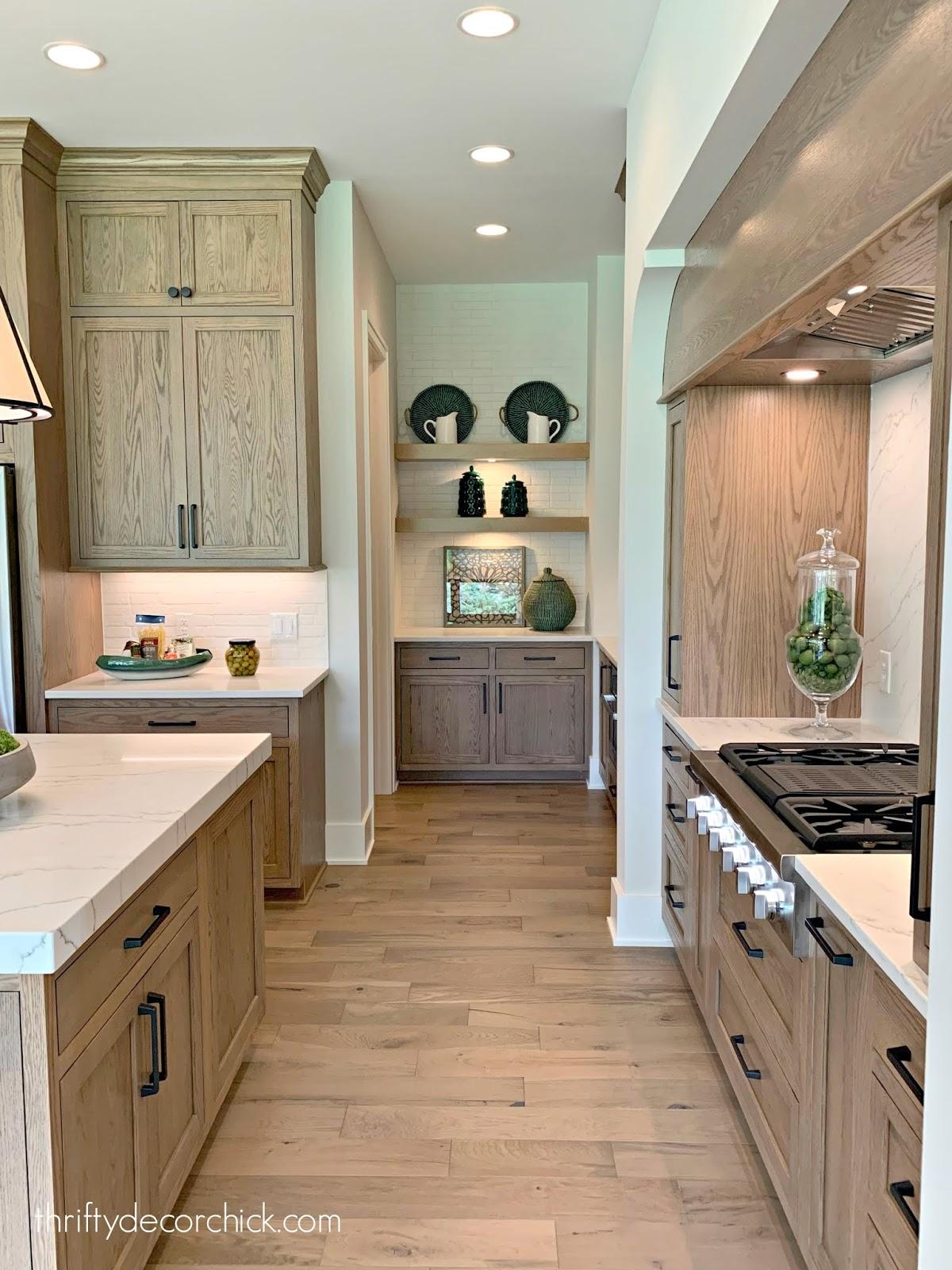 Light gray wood cabinets kitchen