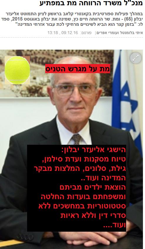 """אליעזר יבלון מנכ""""ל משרד הרווחה מת על מגרש טניס"""