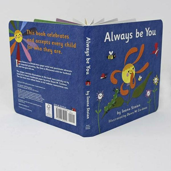 front and back covers of children's board book, Always Be You, showing hand cut, handmade paper illustrations