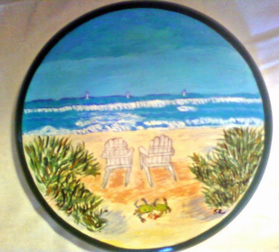 hand painted bar stool with ocean view