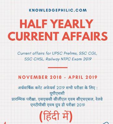 अर्धवार्षिक करेंट अफेयर्स 2019 रेलवे एनटीपीसी एवम ग्रुप डी  2019 परीक्षा के लिए | PDF Download | Half Yearly Current Affairs November 2018 to April 2019