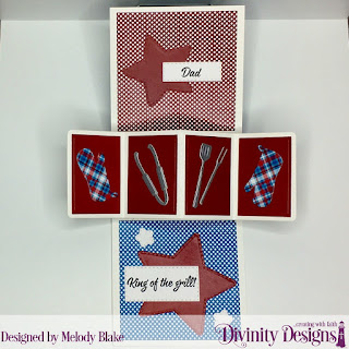 Stamp/Die Duos: Grill Master   Custom Dies: A2 Portrait Card Base with Layer, Twist & Pop with Layers, Barbecue Tools, Grass Lawn, Double Stitched Rectangles, Double Stitched Squares, Double Stitched Stars Paper Collection: Old Glory Paper Pad