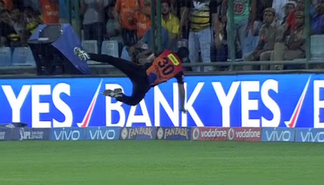 While David Warner took Sunrisers Hyderabad  to finals with a brilliant knock, it was his fellow Australian Ben Cutting's acrobatic leap over the boundary line to stop a six, that provided the showstopping moment of the match.  Riding on Warner's unbeaten 93 off 58 balls, Sunrisers recovered rfom 84/5 to defeat Gujarat Lions by four wickets with four balls to spare at the packed Feroz Shah Kotla stadium on Friday.