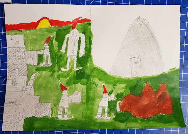 Santas mountain lair Acrylic paints over pencil artist aged 9 unfinished