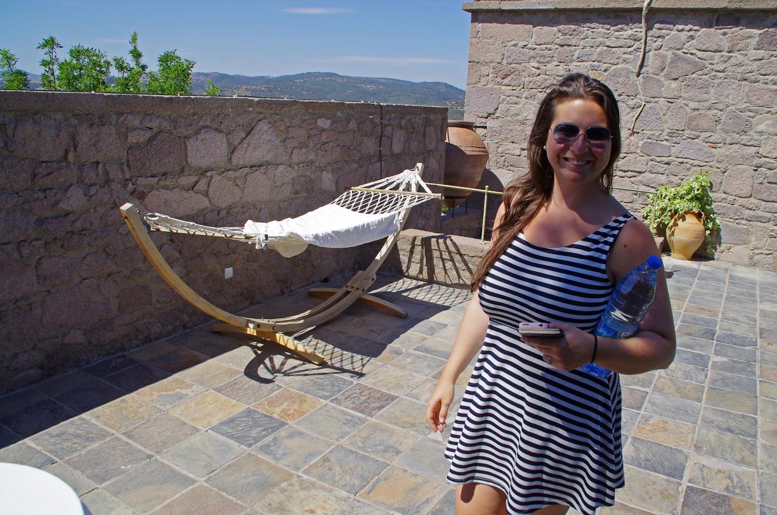 Simone exploring Assos Alarga Boutique Hotel