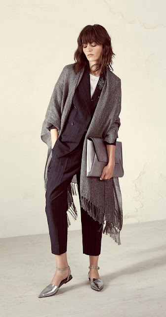 suit and shawl from Brunello Cucinelli, spring 2017