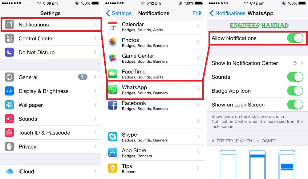 whatsapp notification settings for iphone