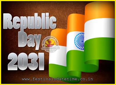 2031 Republic Day of India Date, 2031 Republic Day Calendar