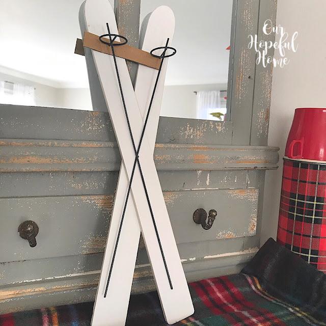 white wooden miniature skis Target dollar bin