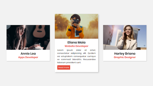 Responsive CSS Cards Design with Hover Animation in HTML and CSS