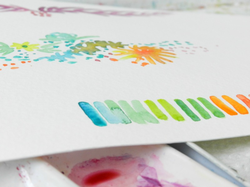 Watercolor Blog Header Designs, floral, stripes: Grow Creative