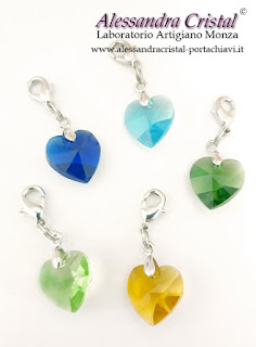 ciondolo cuore cristallo colorato