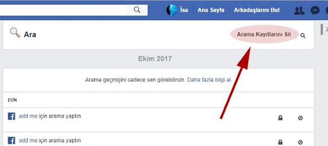 facebook arama kayıtlarını sil