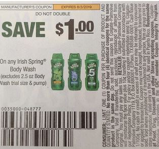 """$1.00/1 Irish Spring Body Wash """"limit 2"""" Coupon from """"SMARTSOURCE"""" insert week of 7/21 (EXP:8/3)."""