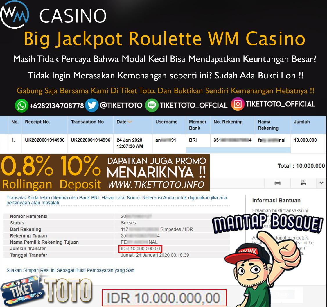 Selamat Atas Big Jackpot Roulette WM Casino 24 Januari 2020
