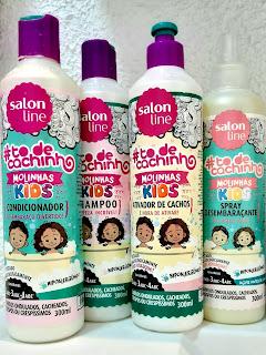 Tô de Cachinho Molinhas Kids Salon Line  Shampoo, Condicionador, Creme para Pentear e Spray Desembaraçante