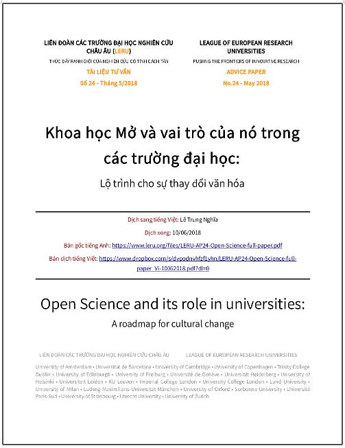 'Khoa học Mở và vai trò của nó trong các trường đại học: Lộ trình cho sự thay đổi văn hóa' - bản dịch sang tiếng Việt