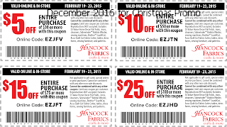 free Hancock Fabrics coupons december 2016