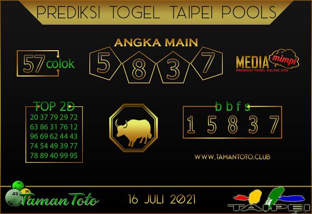 Prediksi Togel TAIPEI TAMAN TOTO 16 JULI 2021