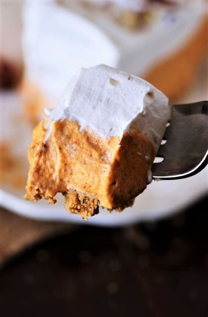 Bite of No-Bake Pumpkin Cream Pie Image