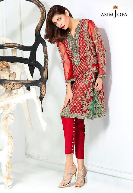 asim Jofa formal net red shirt Bridal dress