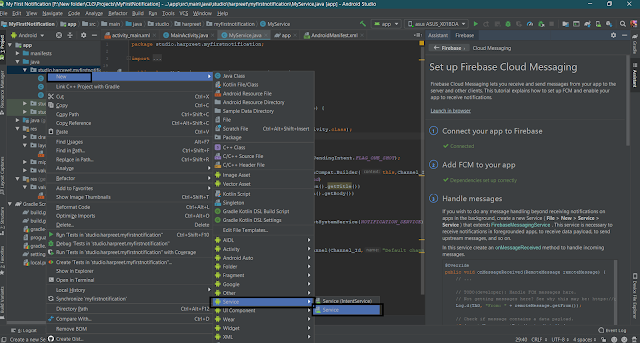 Create a Service in Android Studio