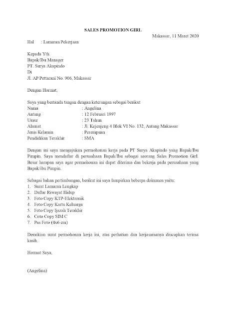 Contoh Surat Lamaran Pekerjaan Untuk Penjualan Dan Retail Tanpakoma