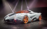 Gri renkli, turuncu jantlı ve camlı konsept bir spor otomobil