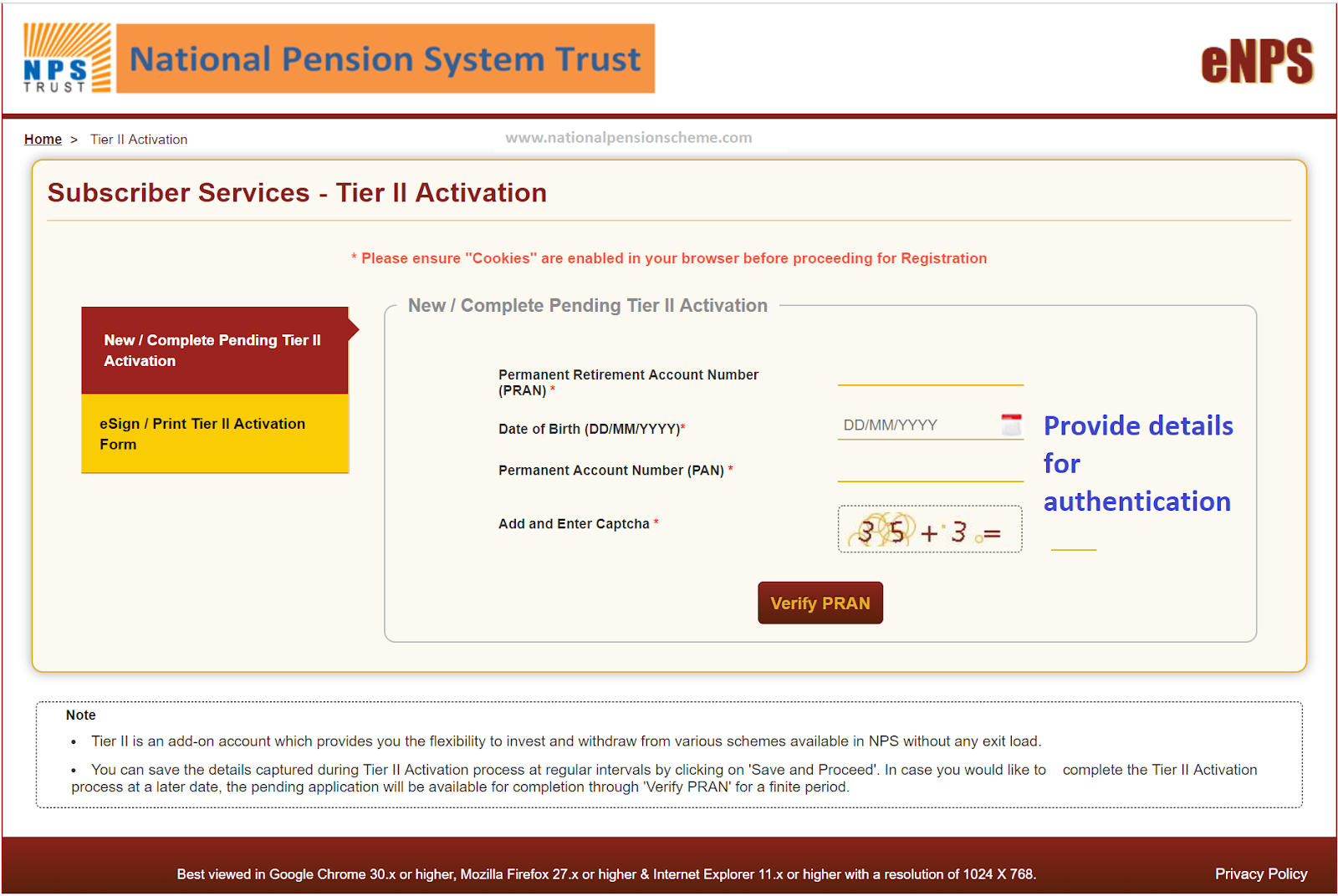 Screenshot of the Tier 2 Activation screen on the NSDL eNPS portal