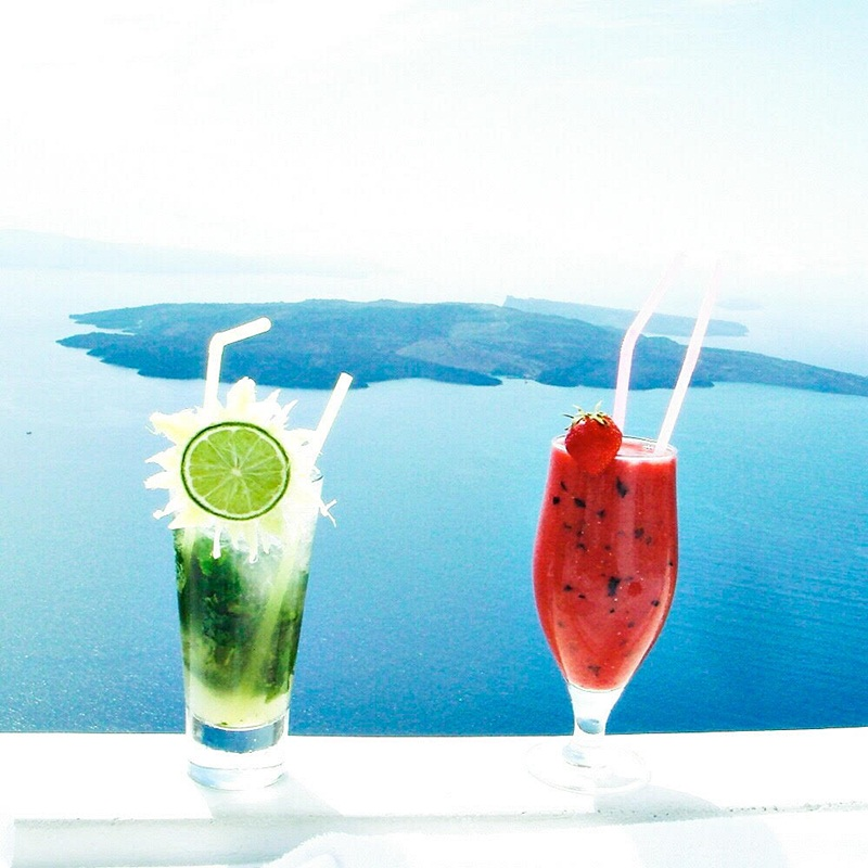 cocktails at luxury boutique hotel Chromata in Santorini