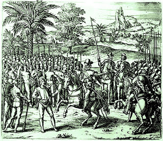 Hernando de Soto, encabritando el caballo delante de Atahualpa.