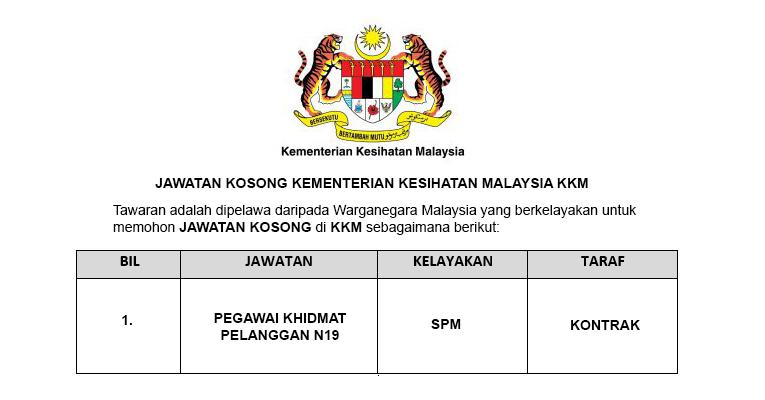 Kementerian Kesihatan Malaysia KKM [ Jawatan Kosong ]