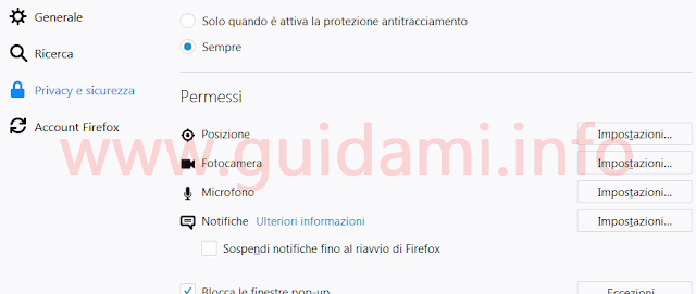 Firefox 59 nuove opzioni privacy