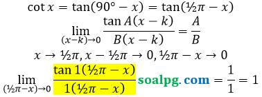 bahas limit cot per x