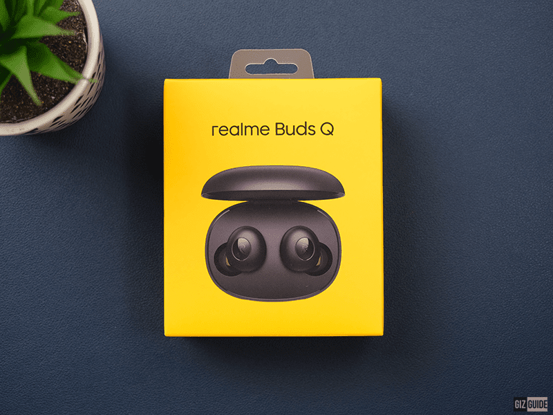 realme Buds Q arrives in a clean, bright golden-yellow box