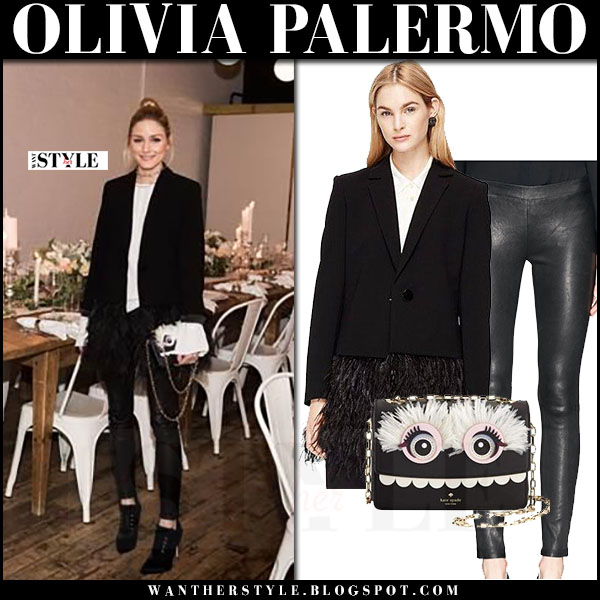 Olivia Palermo in black feather blazer kate spade valerie, black leggings j brand edita with black toothy monster Kate Spade bag what she wore
