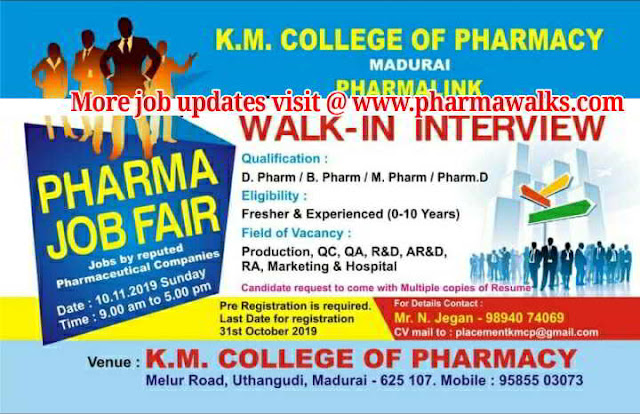 Mega Pharma Job Fair for Freshers & Experienced - Production | QC | QA | R&D | AR&D | RA | Marketing & Hospitals on 10-11-2019 - Register Now