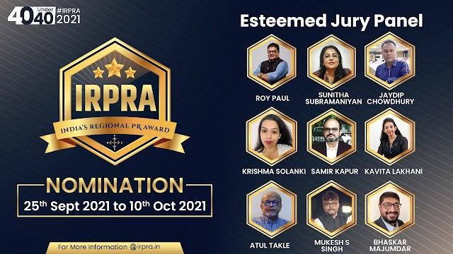 ट्रूपल डॉट कॉम (Troopel.com) द्वारा भारत के रीजनल पीआर अवॉर्ड्स 2021 (IRPRA) 40 अंडर 40 नॉमिनेशन का आगाज़