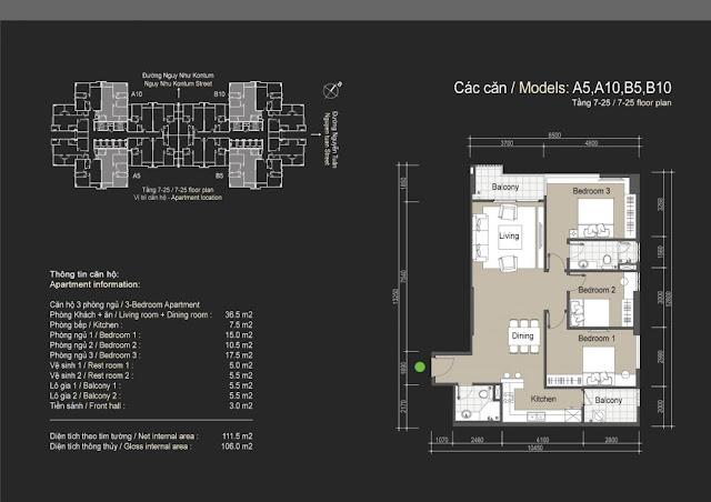 Mặt bằng căn hộ A5 A10 B5 B10 - 106m - The Legend